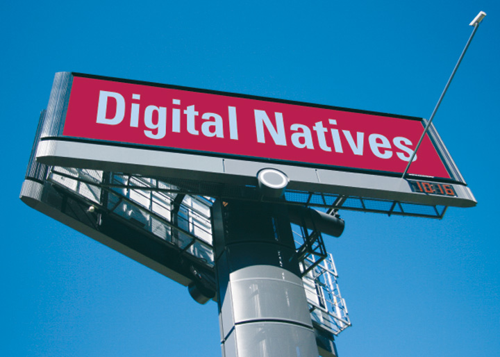 image f cover of digital natives showing electronic billboard