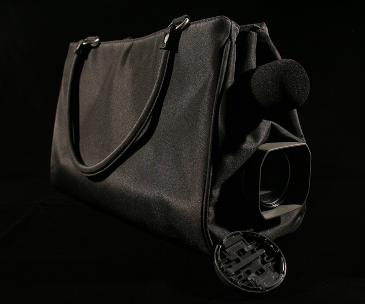 image of purse with camera lens coming out of it